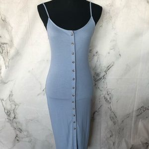 Long Baby Blue Button down fitted dress